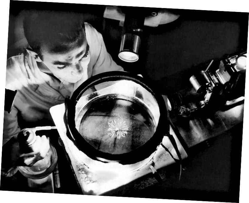 Для атрымання дадатковага бонусу ад радыеактыўных дарожак дадайце мантыю датчыка дыму ў ніжнюю частку вашай хмарнай камеры і назірайце за павольна рухаюцца часціцамі, якія выходзяць з яе вонкі. Некаторыя нават адскочаць ад дна! Малюнак: NASA / GRC / Біл Боўлз.