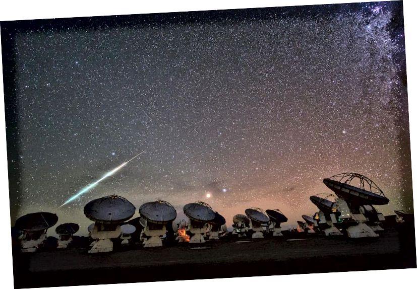 Meteor, fotografiran na velikom milimetrskom / pod-milimetarskom polju Atacama, 2014. ALMA je možda najnaprednija i najsloženija lepeza radijskih teleskopa na svijetu, sposobna je slikati neviđene detalje na protoplanetarnim diskovima, a također je sastavni dio teleskop Event Horizon. (ESO / C. MALIN)
