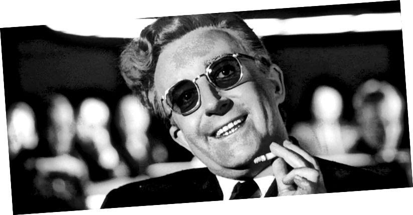 Sjajna i smiješna predstava Petera Sellera u ulozi dr. Strangelovea, lika koji se temelji na bivšem nacističkom znanstveniku Wernheru von Braunu.