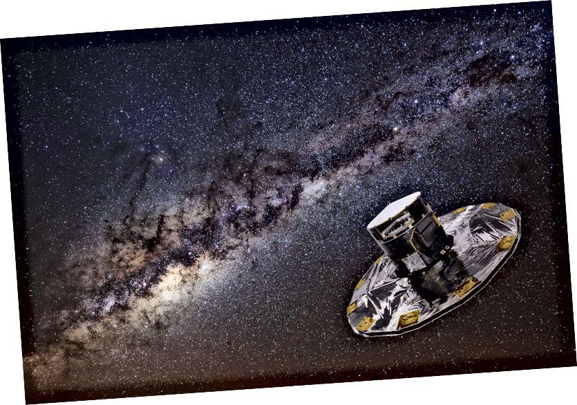 Satailíte GAIA: Cóipcheart: ESA / ATG medialab; íomhá cúlra: ESO / S. Brunier