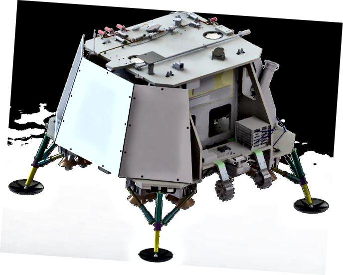 Космический корабль TeamIndus. Здесь видны солнечные панели (слева) и установленный ровер (справа).