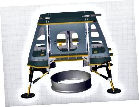 1: космический корабль TeamIndus (более старая версия) в оболочке ракеты. 2: Кольцо пересечения космического корабля, которое стыкуется с ракетой-носителем.