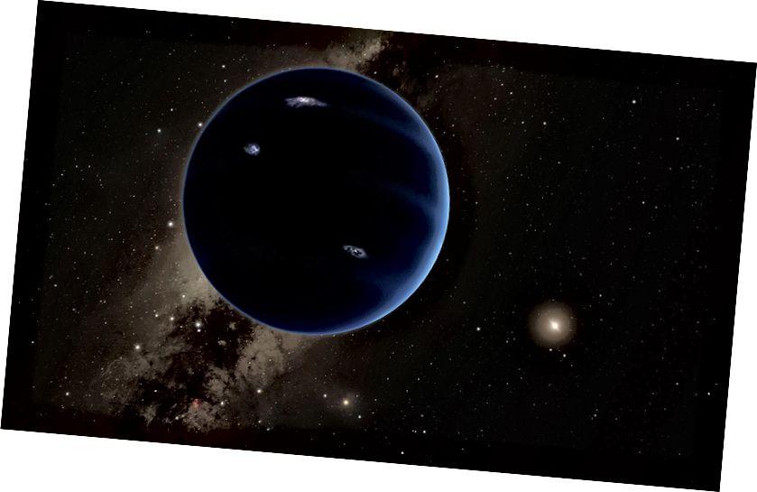 Die Vorstellung eines Künstlers, wie der neunte Planet aussehen könnte und weit weg von der fernen Sonne kreist. Bildnachweis: Caltech / R. Verletzt (IPAC)