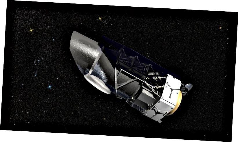 Ein konzeptionelles Bild des WFIRST-Satelliten der NASA, das 2024 starten soll und uns neben anderen unglaublichen kosmischen Funden die genauesten Messungen der Dunklen Energie aller Zeiten liefert. (NASA / GSFC / Conceptual Image Lab)