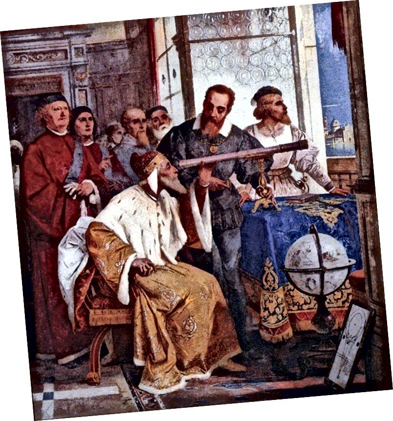 El fresc de Bertini de Galileu Galilei que mostra al Doge de Venècia com utilitzar el telescopi, 1858.