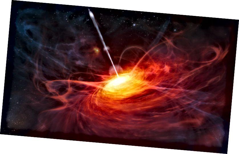Ein Schwarzes Loch schießt Gammastrahlen ins Universum. Abbildung: ESO / M. Kornmesser