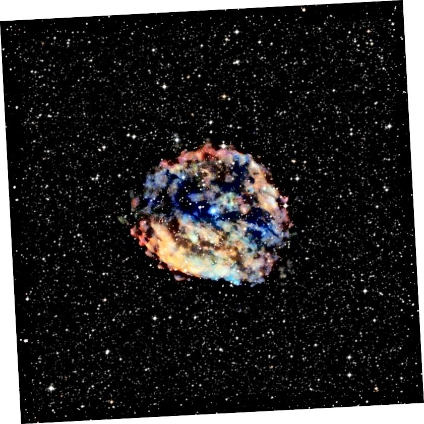 Der sehr langsam rotierende Neutronenstern im Kern des Supernova-Rests RCW 103 ist ebenfalls ein Magnetar. Im Jahr 2016 bestätigten neue Daten von verschiedenen Satelliten, dass dies der am langsamsten rotierende Neutronenstern ist, der jemals gefunden wurde. Massivere Supernovae können ein Schwarzes Loch erzeugen, aber Neutronensterne können die dichtesten physischen Objekte sein, die die Natur ohne Singularität erzeugen kann. Bildnachweis: Röntgen: NASA / CXC / Universität Amsterdam / N.Rea et al.; Optisch: DSS.