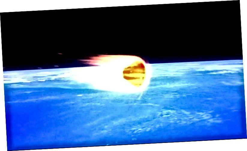 Будзь спадарожнік натуральным ці штучным, вялікае значэнне не мае; калі ён знаходзіцца на суседняй арбіце ў свеце з істотнай атмасферай, арбіта загніе і яна ўпадзе назад на галоўны свет. Усе спадарожнікі на нізкай зямной арбіце зробяць гэта, як і Марс-Месяц Фобас. Крэдыт малюнка: NASA / Orion program / Ames.