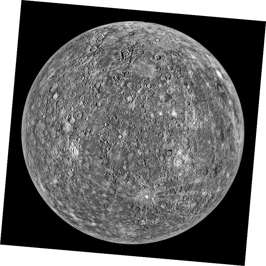 Сусветная мазаіка планеты Меркурый на касмічным караблі NASA Messenger. Малюнак: NASA-APL.