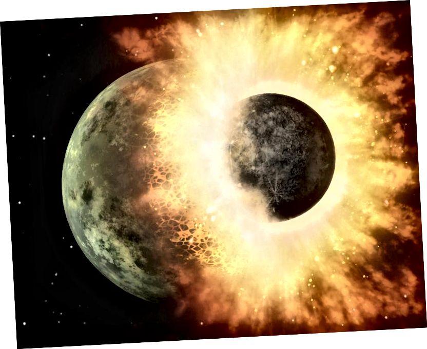 Калі аб'ект сутыкнецца з планетай, ён можа выгнаць смецце і прывесці да адукацыі суседніх лун. Вось адкуль узяўся Месяц Зямлі, а таксама там, дзе лічылі, што ўзніклі таксама луны Марса і Плутона. Малюнак: NASA / JPL-Caltech.