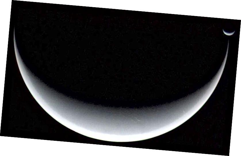 Трытон, гіганцкая луна Нептуна і захоплены аб'ект пояса Койпера, можа быць адной з нашых лепшых ставак на Месяц з уласнай поўняй. Але Voyager 2 гэтага не бачыў. Малюнак: NASA / JPL / Voyager 2.