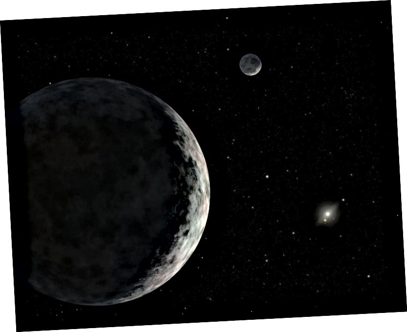 Вядома, аб'ект пояса Койпера павінен мець месяц са сваім месяцам, каб лічыцца месяцам, які мае Месяц. Дыстанцыі ў гульні, верагодна, павінны быць вельмі вялікімі; у нейкі момант энергія гравітацыйнага звязвання становіцца вельмі маленькай, і вобласць, якую вы маеце для поспеху, надзвычай вузкая. Малюнак: Роберт Херт (IPAC).