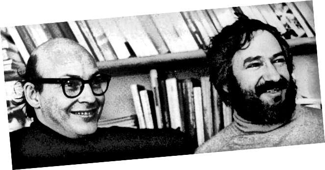 Marvin Minsky (ar chlé) agus Seymour Papert i 1971. Grianghraf le caoinchead Cynthia Solomon