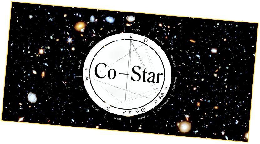 L'application d'astrologie Co-Star: une philosophie Zodiac NASA pour le 21e siècle. L'arrière-plan est une image «Hubble Ultra Deep Field».