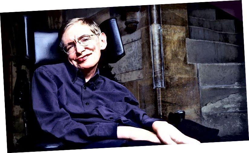 Az ebéd alatt Hawking a szemében pislogott, és szavai nagy részét humorra használta