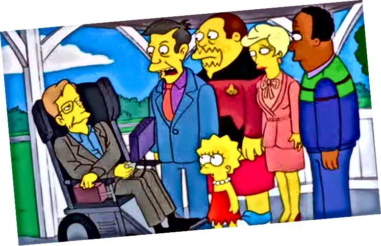 """Stephen Hawking először megjelent a The Simpsons című filmben az """"Ők megmentették Lisa agyát"""" című filmben, amely egy évvel az ebéd után sugárzott."""