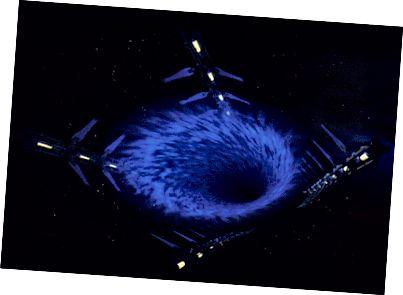 Einige Science-Fiction-TV-Shows wie Farscape (links) hatten Schiffe, die FTL-fähig waren, sich selbst zu bewegen, während andere Shows wie Babylon 5 (rechts) sich dafür entschieden, dass ihre Schiffe künstliche Tunnel durch die als Wurmlöcher bekannte Raumzeit nutzen.