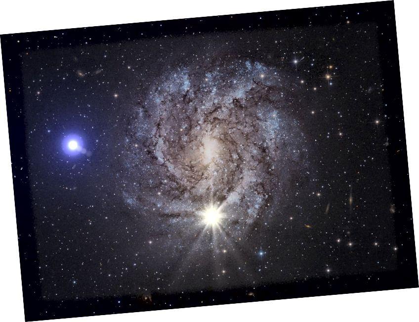 """Künstlerische Darstellung von US 708 (blau), """"The Runaway Star"""", mit einer getakteten Radialgeschwindigkeit von über 1200 km / s."""