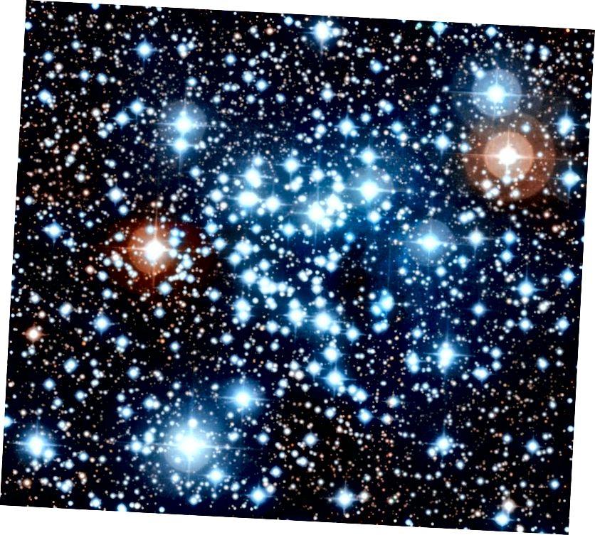 Bíonn réaltaí i réimse leathan méideanna, dathanna agus maiseanna, lena n-áirítear go leor cinn gheal, ghorm atá na deicheanna nó fiú na céadta uair chomh ollmhór leis an nGrian. Taispeántar é seo anseo sa bhraisle réalta oscailte NGC 3766, i réaltbhuíon Centaurus. (ESO)