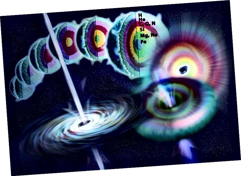 அதன் வாழ்நாள் முழுவதும் மிகப் பெரிய நட்சத்திரத்தின் உடற்கூறியல், அணு எரிபொருளிலிருந்து கோர் வெளியேறும் போது வகை II சூப்பர்நோவாவில் முடிவடைகிறது. இணைவின் இறுதி கட்டம் சிலிக்கான் எரியும், ஒரு சூப்பர்நோவா ஏற்படுவதற்கு முன்பு சிறிது நேரத்தில் மையத்தில் இரும்பு மற்றும் இரும்பு போன்ற கூறுகளை உருவாக்குகிறது. பட கடன்: நிக்கோல் ராகர் புல்லர் / என்.எஸ்.எஃப்.