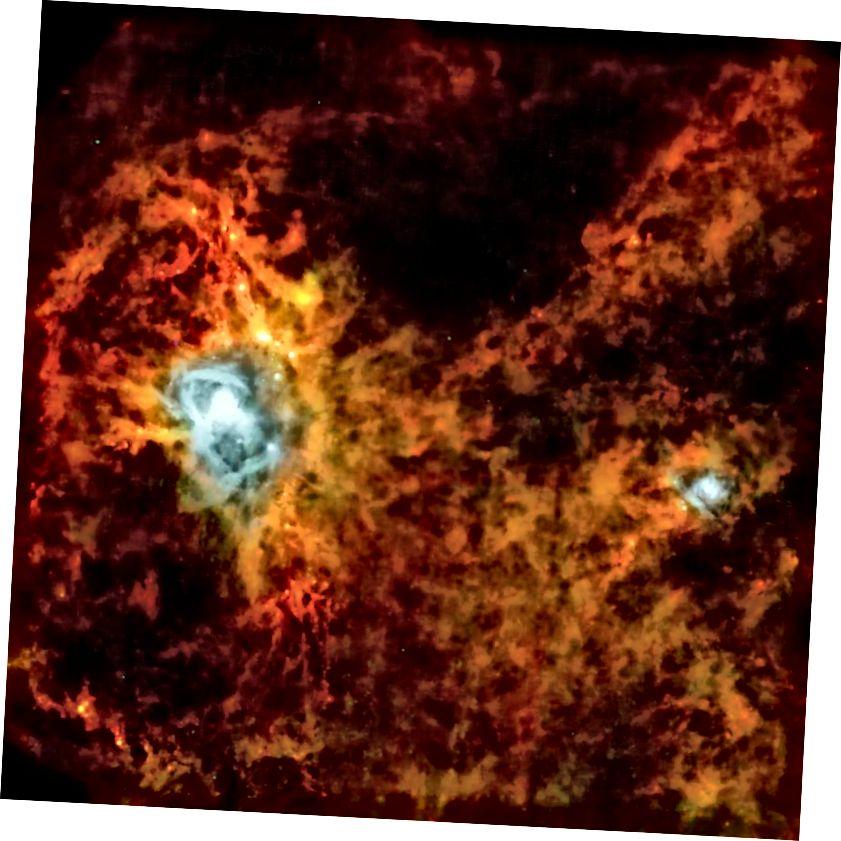 ஒரு புதிய நட்சத்திரத்தை உருவாக்கும் பிராந்தியத்தின் ESA இன் ஹெர்ஷல் ஆய்வகத்திலிருந்து அகச்சிவப்பு பார்வை. படக் கடன்: ESA / SPIRE / PACS / P. ஆண்ட்ரே (CEA Saclay).