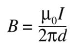 Formel für die Magnetfeldstärke (B) in Teslas.