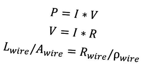 Einige elektronische Gleichungen. Beachten Sie, dass Sie, wenn Sie die Leistungsaufnahme (P) und den Strom (I) kennen, bei einem bestimmten Material alles andere lösen können.