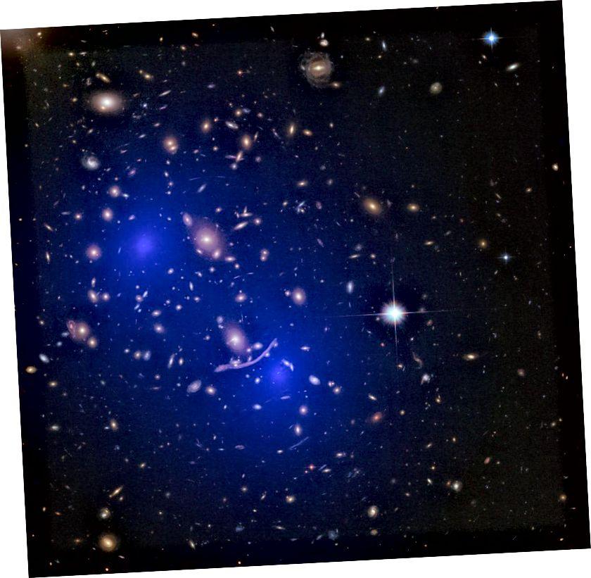 Масавае размеркаванне кластара Abell 370., рэканструяванае пры дапамозе гравітацыйнага лінзіравання, паказвае два вялікіх дыфузных арэолу масы, якія адпавядаюць цёмнай матэрыі з двума зліццёвымі кластарамі, каб стварыць тое, што мы бачым тут. Навокал і праз кожную галактыку, кластар і масіўную калекцыю нармальнай матэрыі існуе ў 5 разоў больш цёмнай матэрыі. Але якая прырода гэтай цёмнай матэрыі? Мы яшчэ не ведаем. (NASA, ESA, D. Harvey (École Polytechnique Fédérale de Lausanne, Швейцарыя), R. Massey (Універсітэт Дарэма, Вялікабрытанія), Hubble SM4 ERO Team і ST-ECF)