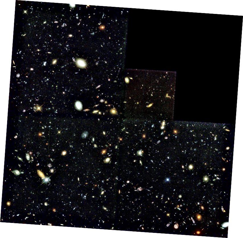 An Hubble Deep Field bunaidh, a d'aimsigh na mílte réaltraí nua i gcluais an spáis dhomhain. Creidmheas íomhá: R. Williams (STScI), Foireann Hubble Deep Field agus NASA.