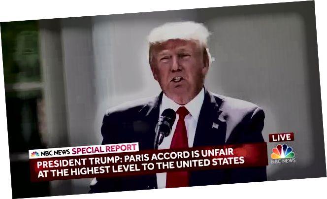 Meitheamh 2017: Tarraingíonn Donald Trump na SA as Comhaontú Aeráide Pháras