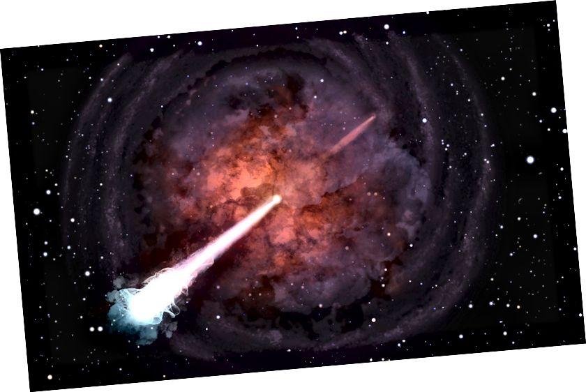 2017 verschmolzen zwei Neutronensterne in einer 130 Millionen Lichtjahre entfernten Galaxie. Wir haben jetzt einen ultraschnellen Strahl beobachtet, der sich mit nahezu Lichtgeschwindigkeit bewegt, was bedeutet, dass er die Hülle der ausgestoßenen Materie ungehindert durchbrochen haben muss. (BEABUDAI DESIGN)