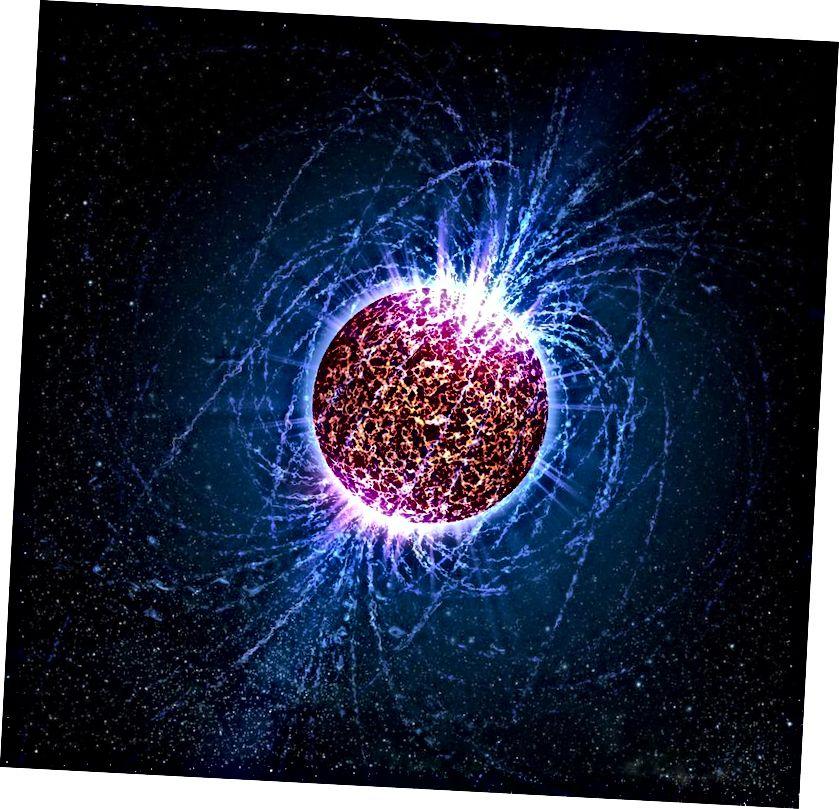 Ein Neutronenstern erzeugt, obwohl er hauptsächlich aus neutralen Teilchen besteht, die stärksten Magnetfelder im Universum, eine Billiarde Mal stärker als die Felder an der Erdoberfläche. Wenn Neutronensterne verschmelzen, sollten sie sowohl Gravitationswellen als auch elektromagnetische Signaturen erzeugen. Wenn sie eine Schwelle von etwa 2,5 bis 3 Sonnenmassen überschreiten (abhängig vom Spin), können sie in weniger als einer Sekunde zu Schwarzen Löchern werden. (NASA / CASEY REED - PENN STATE UNIVERSITY)