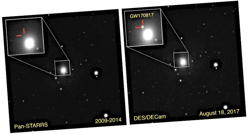 La galassia NGC 4993, situata a 130 milioni di anni luce di distanza, era stata fotografata molte volte in precedenza. Ma subito dopo il rilevamento delle onde gravitazionali del 17 agosto 2017, è stata vista una nuova fonte di luce transitoria: la controparte ottica di una fusione stella-neutrone stella di neutroni. (PK BLANCHARD / E. BERGER / PAN-STARRS / DECAM)