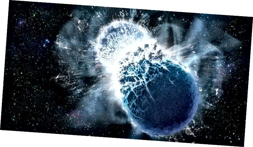 Due stelle di neutroni che si fondono, come illustrato qui, fanno spirale ed emettono onde gravitazionali, ma creano un segnale di ampiezza molto inferiore rispetto ai buchi neri. Quindi, possono essere visti solo se sono molto vicini e solo per tempi di integrazione molto lunghi. L'ejecta, espulso dagli strati esterni della fusione, è rimasto per molti mesi una ricca fonte di segnale elettromagnetico. (DANA BERRY / SKYWORKS DIGITAL, INC.)