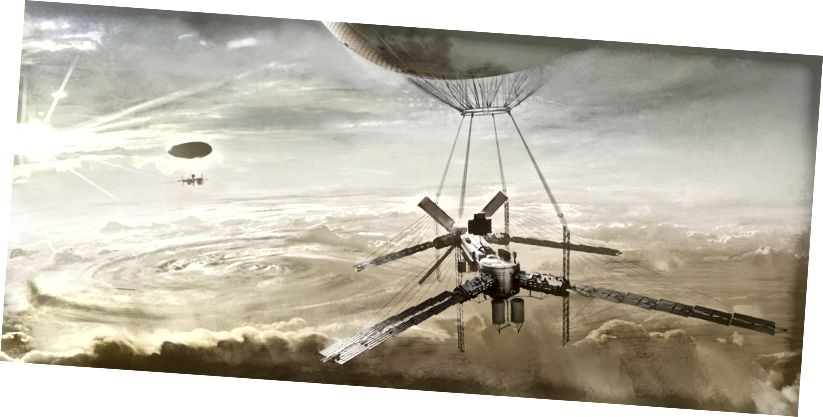Концепцията на художника за плаващо слънчево селище на Венера.