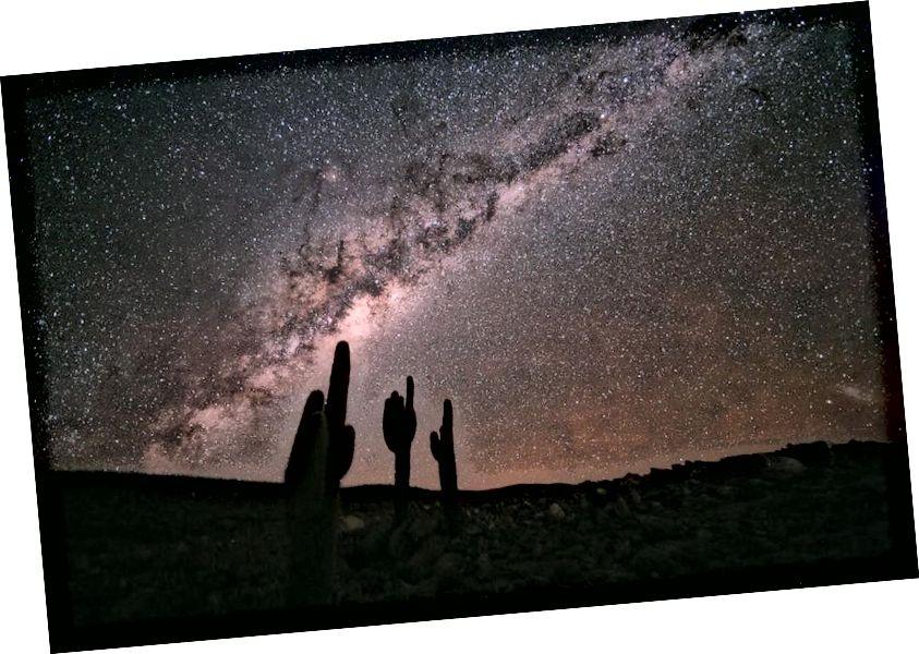 Maa, tähed ja Linnutee on kindlasti kohmakad, kuid võib-olla tekkisid need varasemast ühtsest olekust? Kujutise krediit: ESO / S. Guisard.