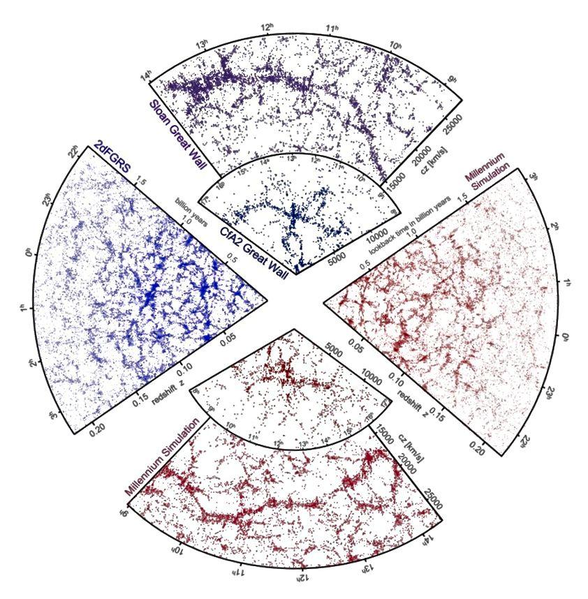 Mõlemad simulatsioonid (punane) ja galaktikauuringud (sinine / lilla) näitavad samu suuremahulisi klastrimustrid. Pildikrediit: Gerard Lemson ja Virgo Consortium, saidi http://www.mpa-garching.mpg.de/millennium/ kaudu.