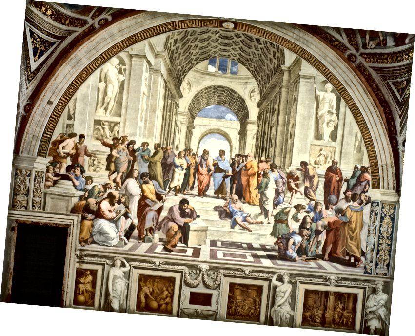 ラファエルによる「アテネの学校」。 左下隅にアナキシマンダーがあり、そこから無限の最初の記録されたアイデアが出ています。