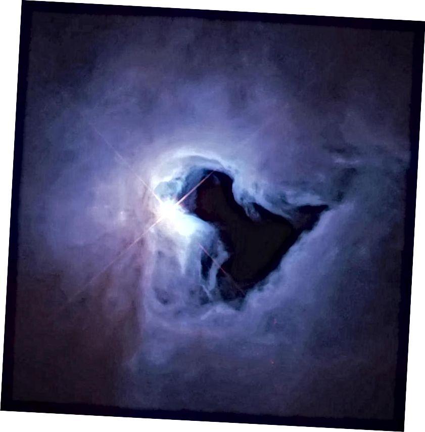 Varisevast gaasipilvest võib välja tulla üksik massiivne täht, kuid ajavahemikud võivad olla tohutud, kui esialgne kõikumine, mille tulemuseks oli pilv, oli piisavalt väike. Kujutise krediit: võtmeaukude udukogu NASA / Hubble Heritage Team (STScI) kaudu.