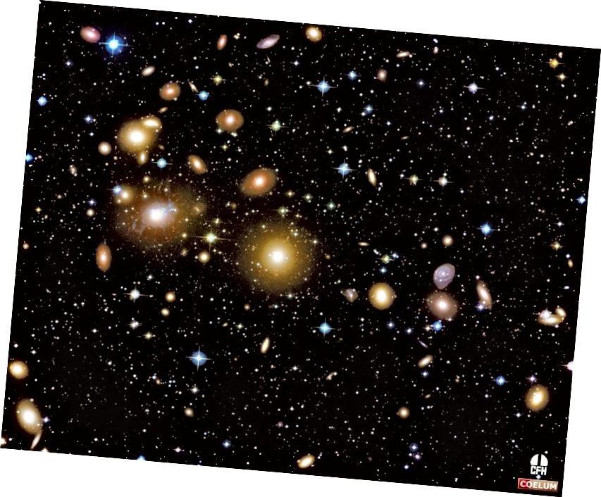 Kui kõikumised oleks vaid pisut väiksemad kui meil, poleks galaktikaparve - nagu siin näidatud - kunagi olemas olnud. Pildikrediit: Jean-Charles Cuillandre (CFHT) ja Giovanni Anselmi (Coelumi astronoomia), Havai tähevalgus.