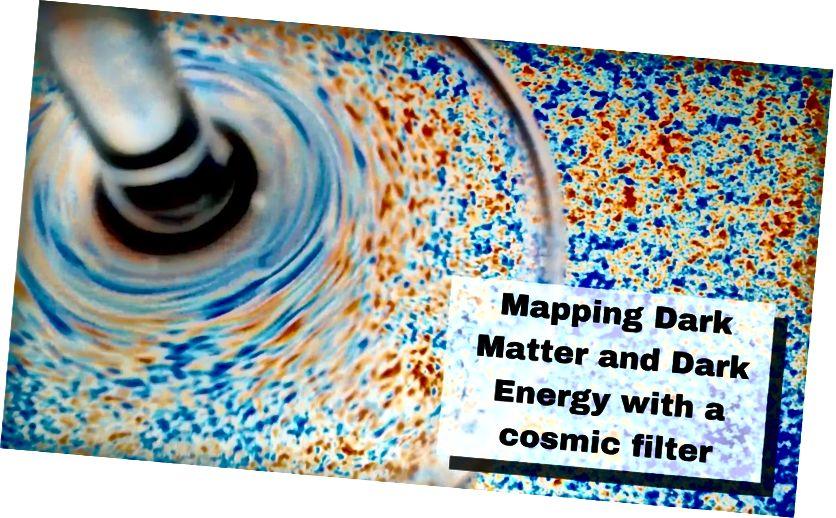 Точно както чаша за вино изкривява изображение, показващо температурни колебания в космическия микровълнов фон в тази фотоилюстрация, големи обекти като галактически клъстери и галактики могат по подобен начин да изкривят тази светлина, за да произведат лещи. (Кредит: Еманюел Шаан и Симоне Фераро / Бъркли Лаборатория)