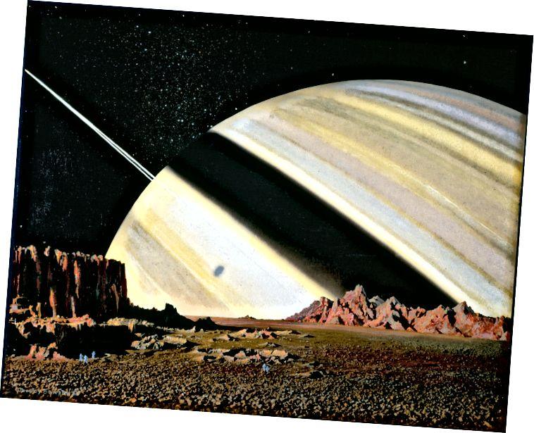 Сатурн, як відаць з Мімаса (Фота: Рэпрадукцыя ласкавасці кампаніі Bonestell LLC)