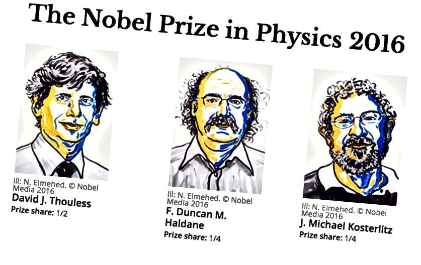 Нобелеўская прэмія па фізіцы за 2016 год была прысуджана Дэвіду Дж. Бязлессу, Ф. Дункану, М. Галдану і Дж. Майклу Костэрліцу,