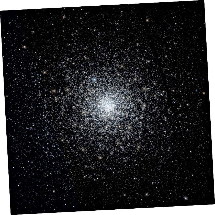 Tá an braisle globular Messier 75, a léiríonn tiúchan lárnach ollmhór, os cionn 13 billiún bliain d'aois. Creidmheas íomhá: HST / Fabian RRRR, le sonraí ó Chartlann Oidhreacht Hubble.