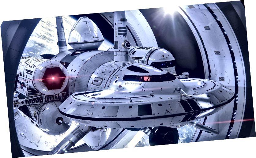 1IXS Enterprise, predloženi warp brod Harold G. White-a iz NASA Eagleworks-a (priredio Mark Rademaker)