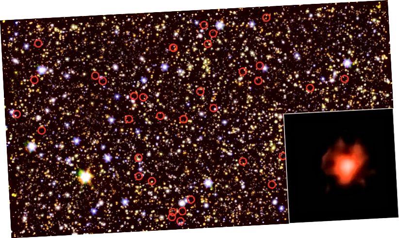 Una imagen compuesta de un campo de galaxias, tomada por los telescopios espaciales Hubble y Spitzer. Las galaxias más antiguas y oscuras están rodeadas. La imagen insertada en la parte inferior derecha muestra una imagen de primer plano y larga exposición de una de estas antiguas familias de estrellas. Crédito de la imagen: NASA / JPL-Caltech / ESA / Spitzer / P. Oesch / S. De Barros / I.Labbe