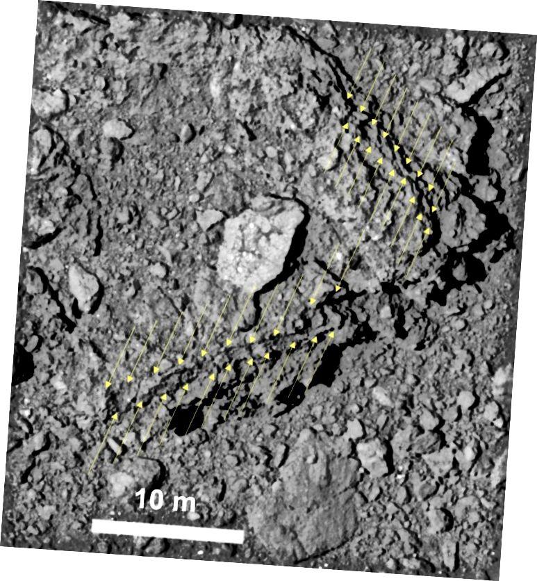לריוגו יש אלבדו או השתקפות נמוכה במיוחד של 2 אחוזים, כך שלדעתנו הוא שחור יותר מפחם. המצלמות של Hayabusa2 רגישות במיוחד על מנת לפתור פרטים נאים (© 2019 Seiji Sugita et al., Science)