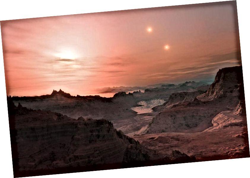 Уражанне мастака ад заходу сонца на чужы свет. Малюнак: ESO / L. Кальчада.