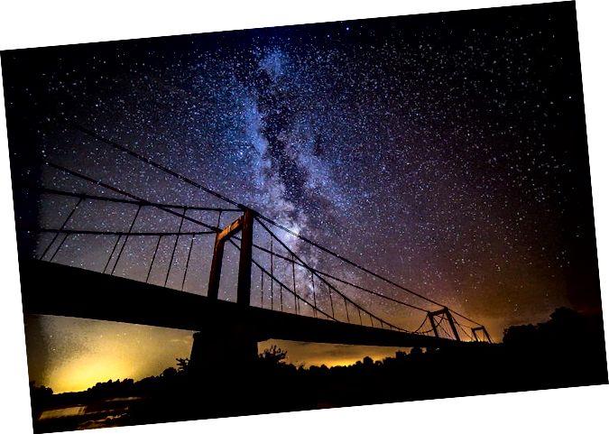 Ini adalah bagaimana kita terbiasa melihat galaksi Bima Sakti - dari Bumi. Kredit gambar: bromatofiel / Flickr