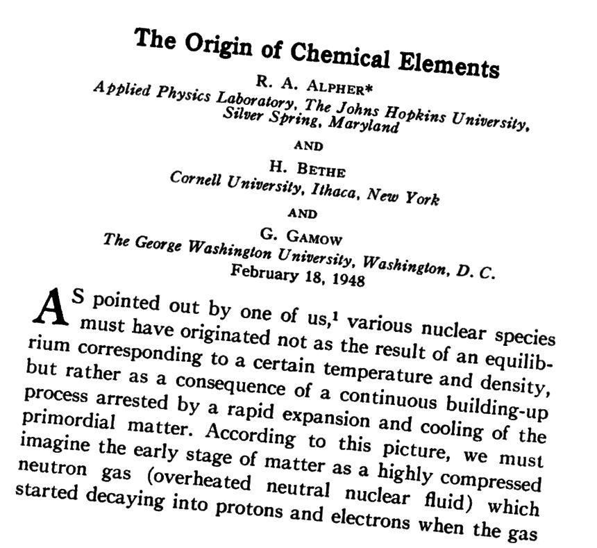 1948. aasta kuulus Alpher-Bethe-Gamowi paber, mis kirjeldas mõnda Suure Paugu nukleosünteesi peenemat punkti. Valguselemente ennustati õigesti; rasked elemendid polnud. Pildikrediit: Füüsiline ülevaade (1948).